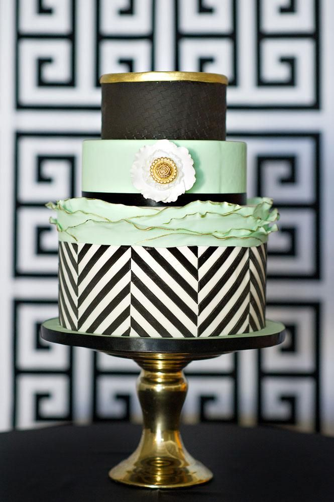 mint, black, and gold ..Think I found my future wedding cake! Has my 3 favorites... BW Stripes, Mint( Loved it since a child NOT when it got trendy) and Gold!!