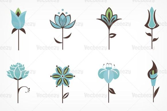 Stylized Flower Vector Pack