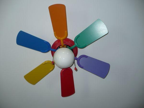 Kids ceiling fan rainbow colors 10 john room pinterest for Kids room ceiling fan