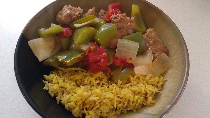 Sausage, peppers and onions with saffron rice. http://www.bunkycooks ...