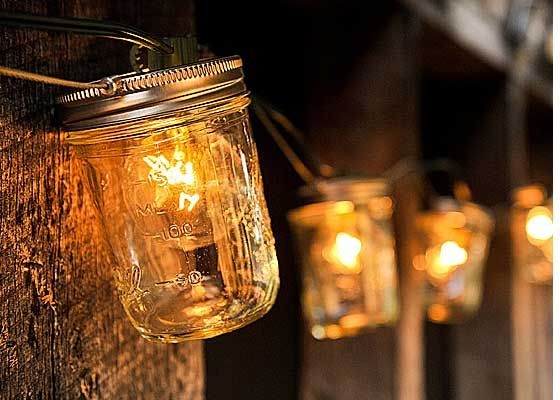 Mason Jar Lights  From Bourbon and Boots, a little pricey but so cute!!