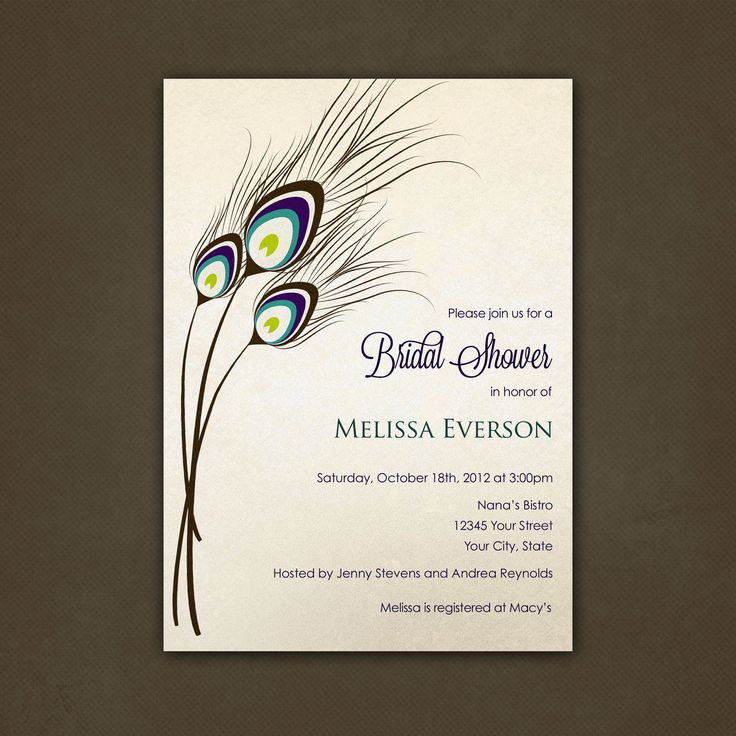 Peacock Feathers Bridal Shower Invitations Printable File by Pink Sky ...