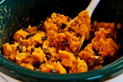 ... Slow Cooker Recipe for Sweet Potato and Black Bean Burritos with Lime