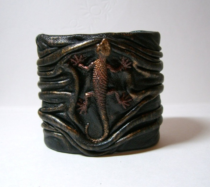Black copper antiqued leather bracelet cuff with Lizard or Iguana. $29.99, via Etsy.