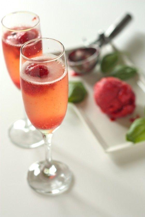 strawberry basil sorbet bellini - yum!