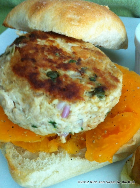 Rich and Sweet: Salmon Tarragon Burger | canned salmon/tuna ...