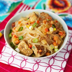 Thai curry cellophane noodles with pork. Ummmmm