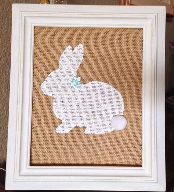 Burlap Easter Bunny, Hand Painted, in White Wood Frame, 8x10 on Etsy, $23.99
