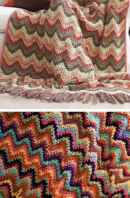 Vintage Ripple Crochet Afghan Pattern : Pin by Monica Mahiques on MANTAS CROCHET Pinterest