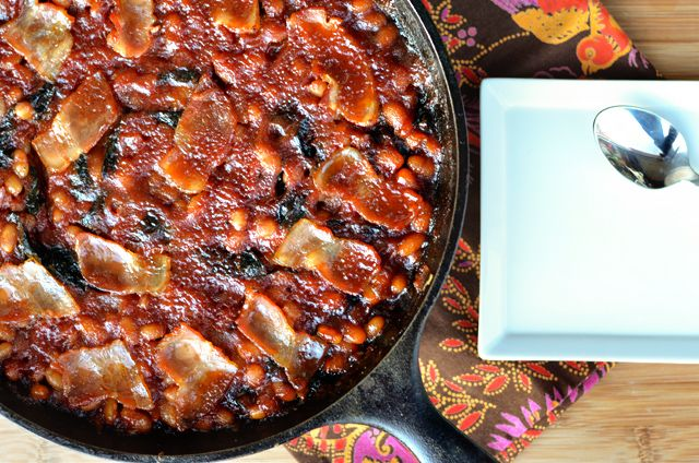 BAKED BEANS WITH BACON AND CHARD - I shall trick him into eating chard ...