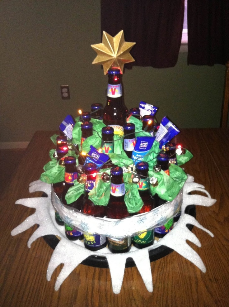 Beer christmas tree my project pinterest inspired for How to make a beer bottle christmas tree
