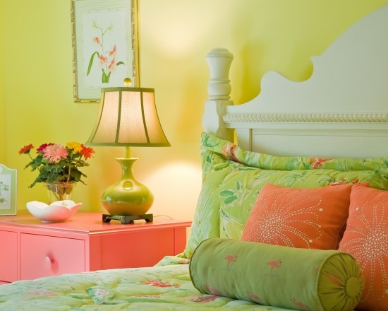 """""""yellow walls, contrast pink table with white headboards""""  """"green bedding...white headboard...on bedding."""""""