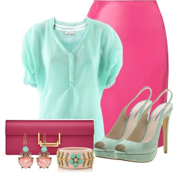 """pink and Mint"" by lisamoran on Polyvore"