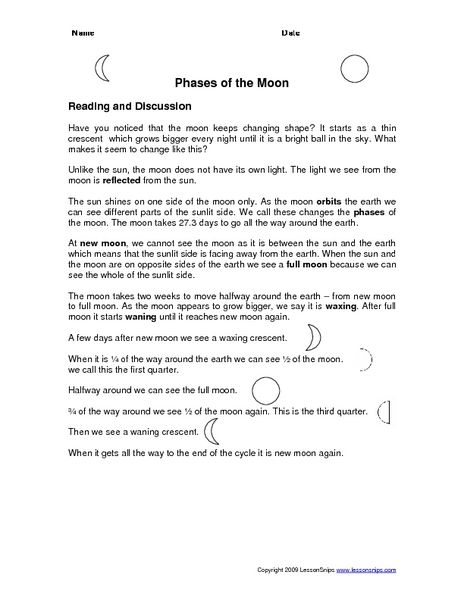 Phases of the Moon Worksheet | Lesson Planet