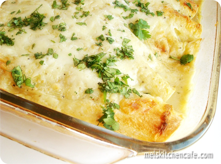 Have to try this recipe for white chicken enchiladas!