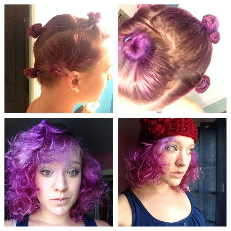 Overnight curls - twist hair into mini buns and sleep on them! Mine ...