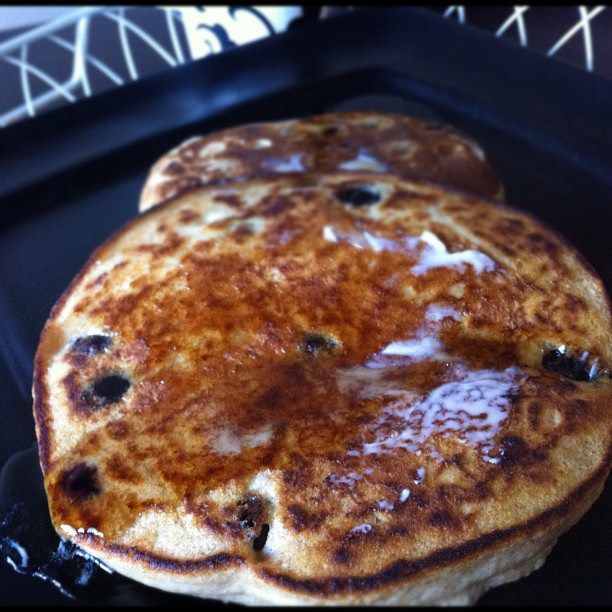 Whole wheat blueberry pancakes -- perfect for Saturday or Sunday ...