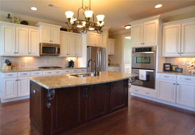 White Cabinets Dark Island Kitchen Pinterest