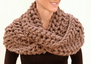 quick weekend project for an infinity scarf, gorgeously knitted in chunky wool and #19 needles