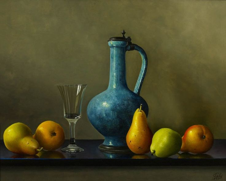 Johan de Fre (b.1952 ) — Ripening Pears and a Blue Jug (898x716)