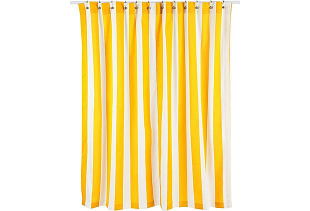 Vertical Striped Shower Curtain Yellow