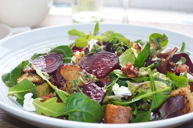 Winter Panzanella Salad. Mixed Greens, Herbs, Beets, Multi-Grain Bread ...