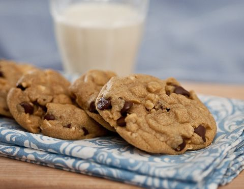 Peanut butter cookies loaded up with chocolate chips and coarsely chopped peanuts