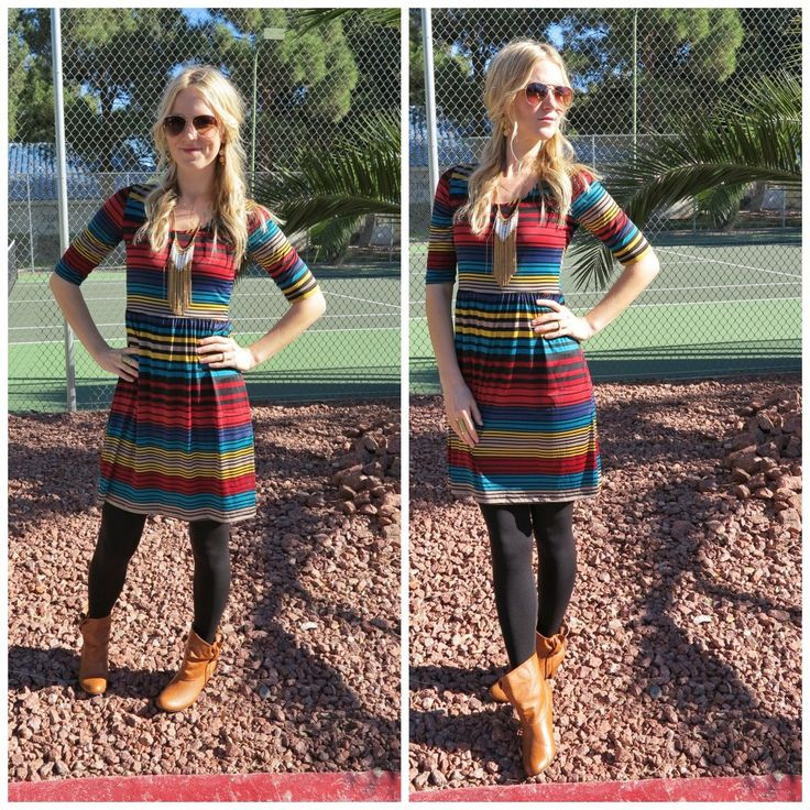 Ashpants: Striped dress, tights & boots.
