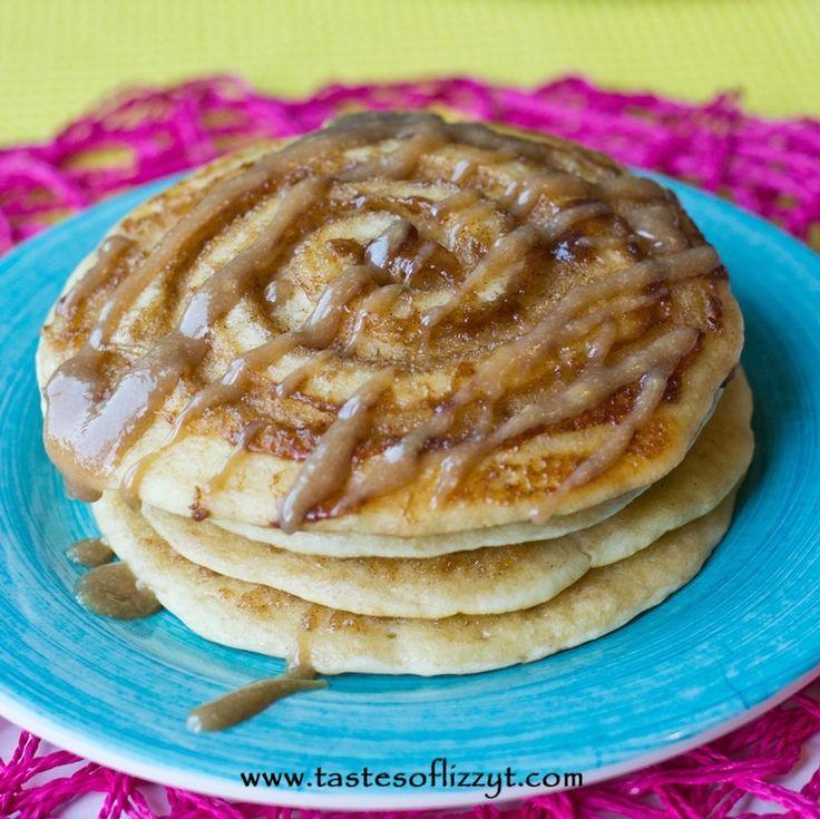Cinnamon Roll Pancakes - Tastes of Lizzy T's