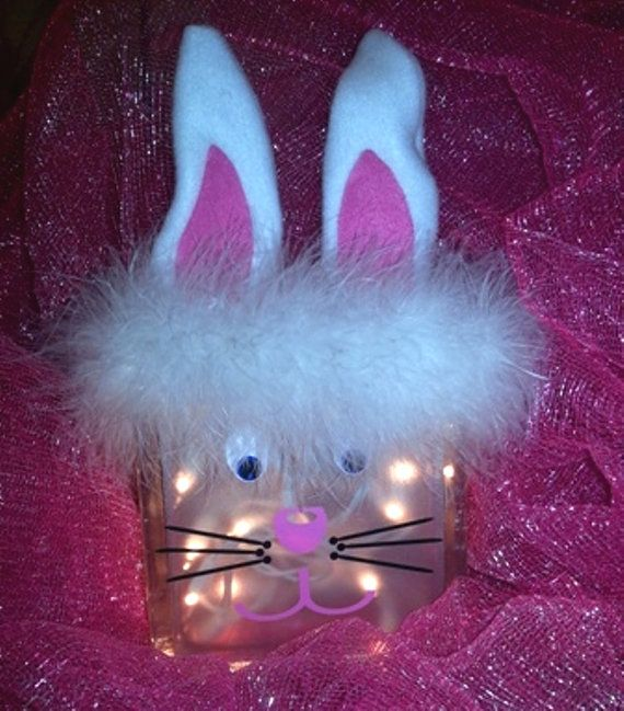 Easter bunny glass block night light decoration - Light up easter decorations ...