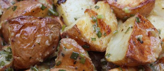 New potatoes with roasted garlic vinaigrette