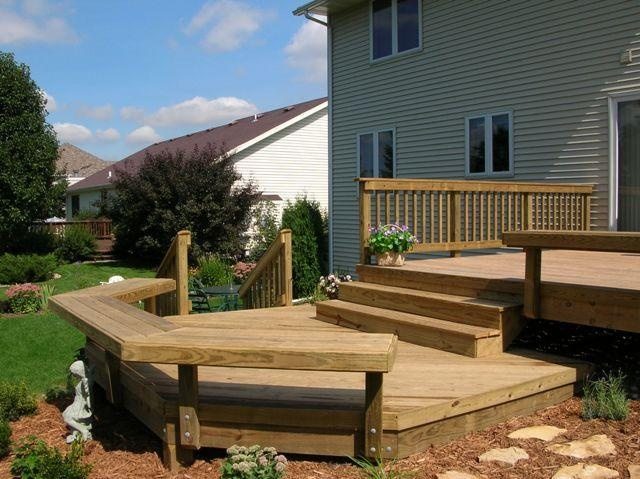 Bi level porch designs bi level deck deck pinterest for Bi level house with front porch