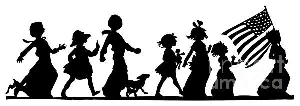 FOR SALE! SILHOUETTE ARTWORK!  ....  4th Of July Childrens Parade Panorama  .....   #sale #artwork #cards #prints #fineartamerica  #silhouettes #fonts    #4thOfJuly #panoramas #children #parades