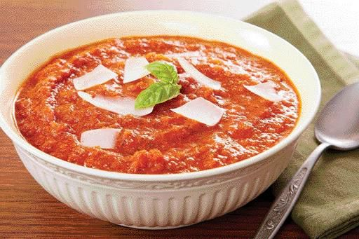 Tomato Soup With Ricotta Cheese And Basil Recipe — Dishmaps