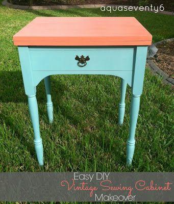 ... Seventy6: Easy {DIY} Vintage Sewing Cabinet Makeover @AquaSeventy6