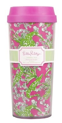 """Lilly Pulitzer Insulated Thermal Mug """"See You Later"""" Travel Coffee Tea Lid New 