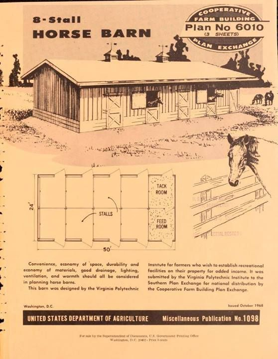 Vintage plans 8 stall horse barn vintage print books for 8 stall barn plans