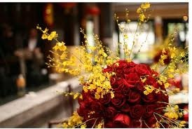 Red and yellow centerpiece yellow poppy red gray wedding - Red and yellow centerpieces ...