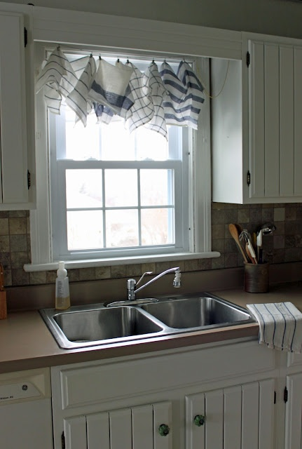 The wannabe cottage dish towel curtains fabric - Curtain ideas for kitchen sink window ...