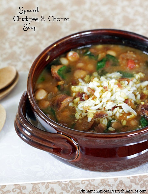 Spanish Chickpea & Chorizo Soup   Hearty Soups, Stews, Chili and Bean ...