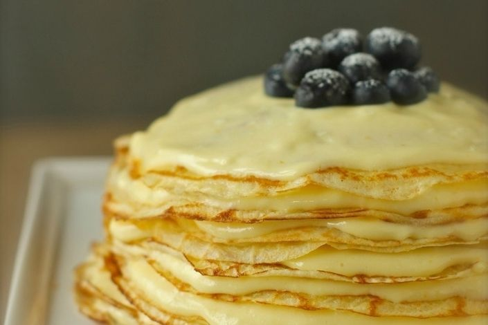 Meyer Lemon Curd Crepe Cake - Alternating layers of sweet crepes and ...