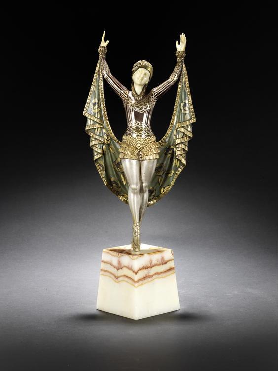 "Enrique Molins-Balleste bronze and ivory figure ""Violet"" circa 1920s."