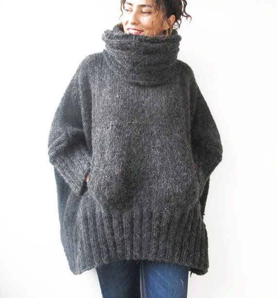 Dark Gray Hand Knitted Poncho with Accordion Hood and ...