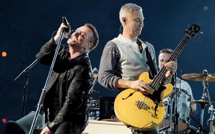 Bono and Adam Clayton of U2