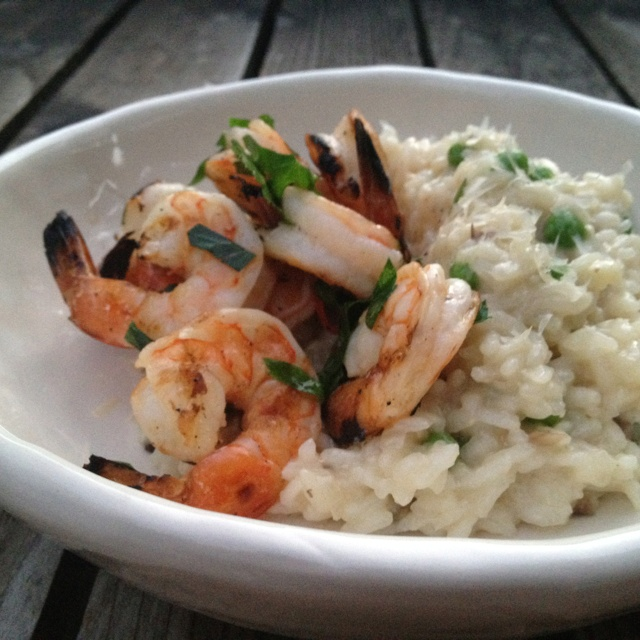 Fresh Pea Risotto With Spicy Grilled Shrimp Recipe — Dishmaps