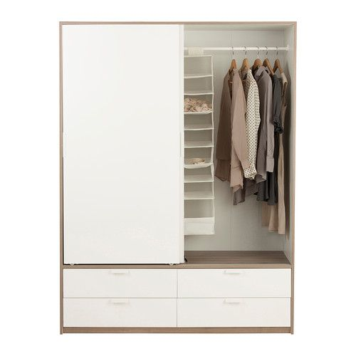Ikea Tarva Bedside Table Hack ~ TRYSIL Wardrobe w sliding doors 4 drawers, white, light grey $329 The