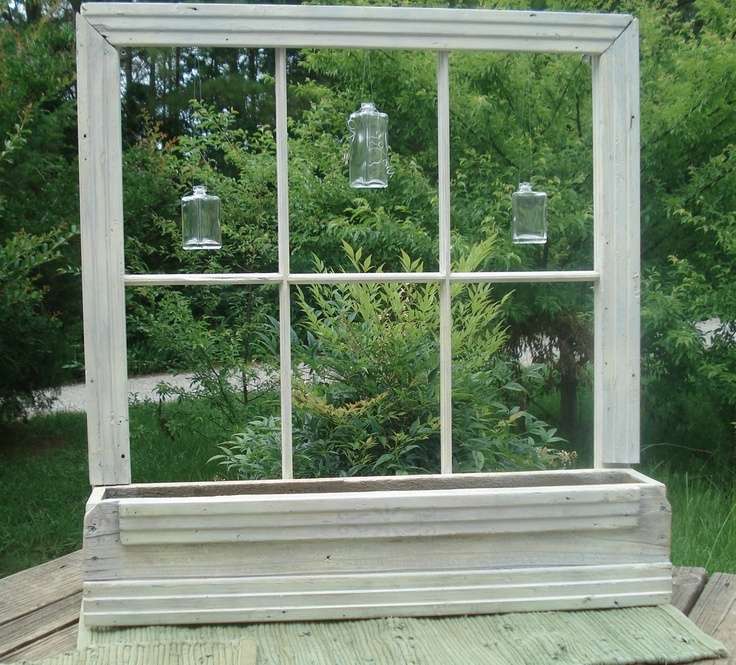 Old window planter primitive cottage country garden or for Outdoor decorating with old windows