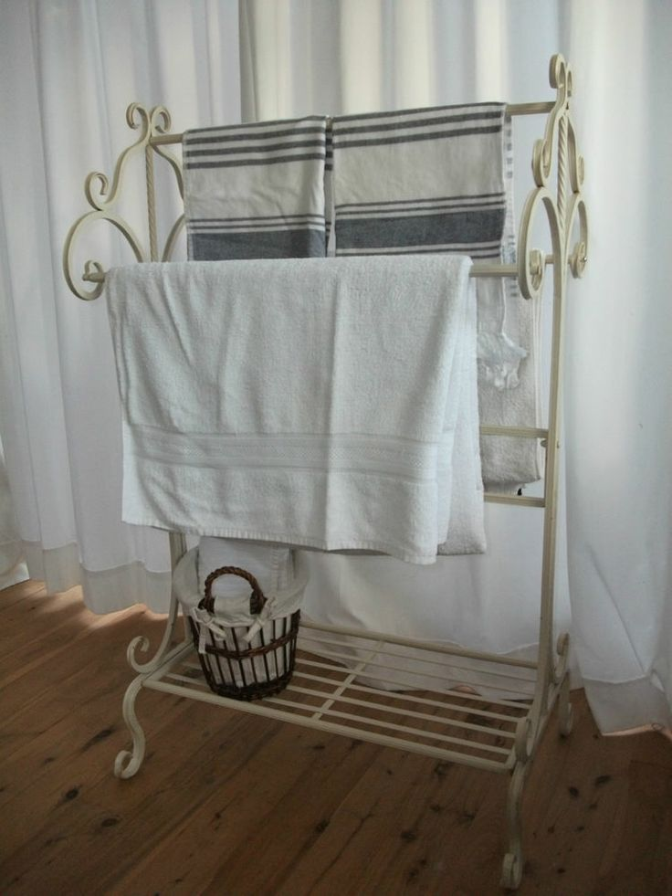 Shabby chic white french style decorative metal towel rail for Shabby chic towel stand