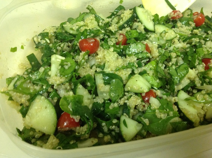 Spinach, tomato, cucumber, onion, and quinoa salad. Add 2 tbsp of ...