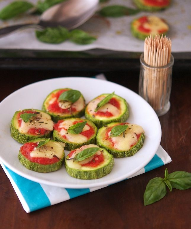 Zucchini Pizza Bites - Can use low/non-fat cheese or non-dairy cheese ...